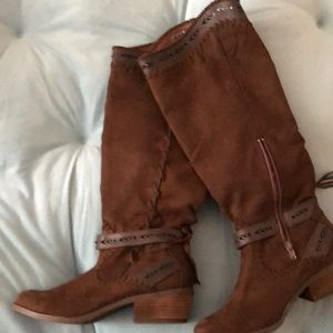 Women's brown suede boots